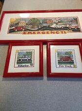 Lila Rose Kennedy Emergency Police Fire Nursery Kids Framed Prints Art Lot of 3