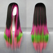 Multi-Color Red Green Pink Long Straight Women Lady Cosplay Hair Wig Wigs + Cap