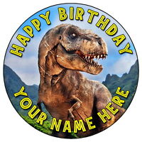 "JURASSIC WORLD T-REX DINOSAUR - 7.5"" PERSONALISED ROUND EDIBLE ICING CAKE TOPPER"