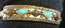 Lucky Brand Gold Metal & Turquoise Stones Ornate Small Cuff Bracelet MSRP $45