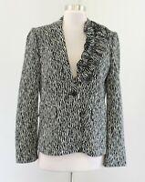 Teri Jon Black Zebra Print Knit Wool Blend Ruffle Lapel Blazer Jacket Size 6