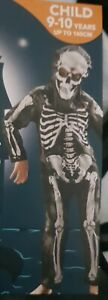 Kids Skeleton Costume Jumpsuit Boys Girls Halloween Party Fancy Dress 9-10 11-12
