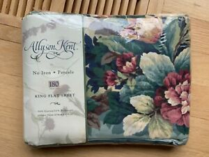 ALLYSON KENT Vintage King Flat Sheet ~ NEW NOS Floral Lattice Percale 180 Count