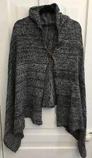 Hooded Assymetrical Poncho/Cape Single Button Cardigan Sweater Grey/Black OSFA