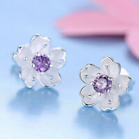 Color Pink Color Rhinestone Stud Earrings Sakura Earrings Cherry Blossom