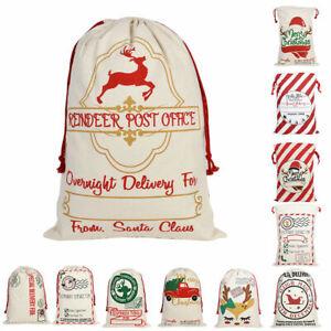 Large Christmas XMAS Hessian Santa Sack Stocking Bag Reindeer Children Gifts Bag