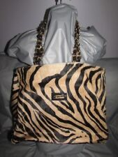 Terrida Made In Italy Hair On Hide Tan Zebra Animal Print Handbag Shoulder Bag