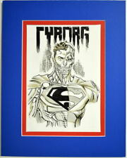 CYBORG SUPERMAN Bust Full Color Original Art by Anthony Castillo Pro Matted