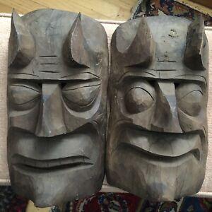 Tiki Mask Pair — Hawaiian Polynesian Carved Wood Art — Protector Spirit