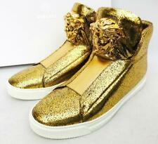 VERSACE Medusa Gold Leather Sneakers Trainers Shoes UK7 EU41 US8