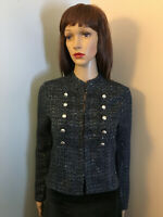 WHITE HOUSE BLACK MARKET XS Black Blue Sparkle TWEED Short JACKET TOP Military