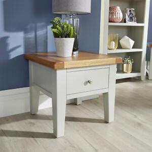 Modern Grey Solid Wood 1 Drawer Lamp Side End Table Living Room Furniture