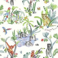 Children/'s Jungle Mania Motif Animal Wallpaper Tigre perroquet Hippo blanc vert