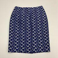Jones Studio Separates Skirt Womens Size 6 Blue Knee Length Geometric Triangles