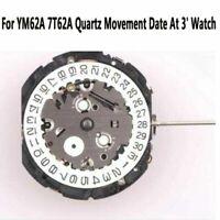 Para YM62A 7T62A Movimiento de Cuarzo Quartz Movement Date Display At 3' Reloj