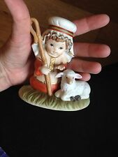 Cute Vintage Homco Spepherd Boy With Lamb/Sheep Figurine And Free Shipping