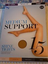 """M&S 15D Medium Support Shine Tights"""" Natural Tan, Ex-Large """"Great for Work"""""""