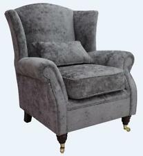 Ashley Wing Chair Fireside High Back Armchair Nuovo Ash Grey Velvet
