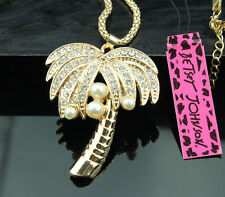 A166 Betsey Johnson Crystal Tropical tree Coconut tree Pendant Sweater Necklace