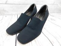 Donald J Pliner Navy Blue & Black Stretch Fabric Block Heel Loafers Size 6 1/2 M