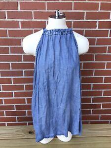 Chicos Sleeveless Blue Denim Halter Tank Top Shirt Blouse Indigo Blue Size 4 NWT