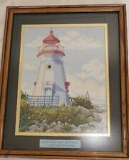 NEEDLEPOINT ART CHEBOYGAN CRIB LIGHTHOUSE MICHIGAN FRAMED SIGNED