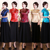 Chinese Traditional Tops Women Silk Satin Shirt Summer Blouse Size S-4XL