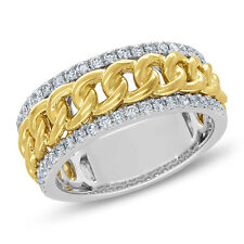 Mens 14K Two Tone Gold Braided Chain Link Diamond Wedding Band Engagement Ring