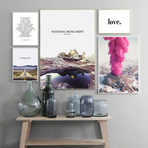 Scandinavian Mountains Landscape Poster Nordic Life Quote Wall Art Canvas Print