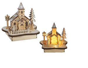 Wooden Winter Landscape Light Up LED Church House Winter Wonderland Christmas
