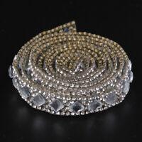 Crystal Rhinestone Ribbon Iron on Wedding Dress Clothes Hats Sewing Trim 1M