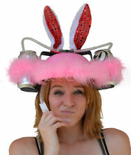 Beer & Soda Guzzler Helmet & Drinking Hat, Pink Bunny Rabbit Ears Party Hat NEW