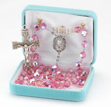 Sterling Silver Rosary made with Pink Swarovski Crystals