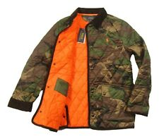 Polo Ralph Lauren Boys Green Multi Camo Quilted Puffer Snap Button Jacket