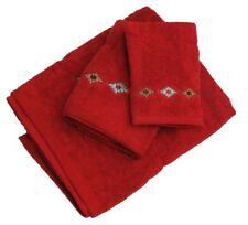 New! 3 Piece red Navajo diamond embroidered towel set
