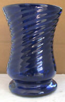 Vintage Cobalt Blue Hand Blown Swirl Design Table Glass with Pontil Base- Mexico