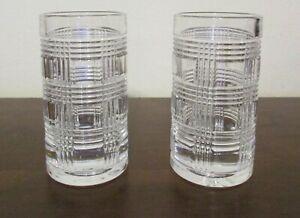 2 RALPH LAUREN CRYSTAL GLEN PLAID SHOT GLASSES