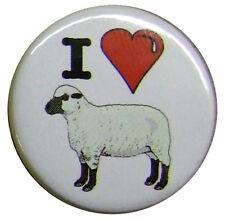I Love Sheep 25mm badge. Small 1 inch I Heart badges. Fun joke banter slogan.
