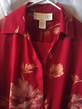 Norton 2-piece outfit skirt n shirts sz L cranberry/buff poly blend Full Skirt