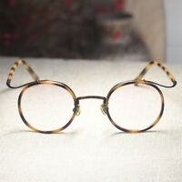 Vintage round tortoise eyeglasses frame retro womens rx optical glasses eyewear