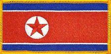 NORTH KOREA FLAG Iron-on PATCH KOREAN DPRK KING JONG UN RARE Gold Border #01
