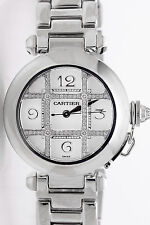 Signed $37,000 Cartier Ladies 18k White Gold Diamond PASHA Dress Watch 135g