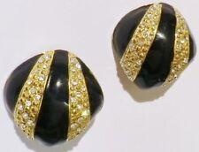boucles d'oreilles clips bijou vintage couleur or et noir cristal diamant * 4733