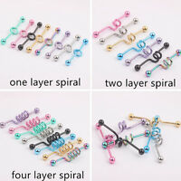 Colorful Surgical Steel Spiral Industrial Bar Scaffold Ear Barbell Ring PIERCING