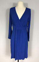 Eileen Fisher Blue Long Sleeve Knee Length Fit and Flare Dress Women's S