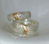 7 mm breite Eheringe, Partnerringe, Silber 999, Gelbgold 585, ein Diamant