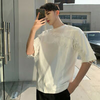 Youth Summer Fashion Oversize T-shirt Mens Tassel Casual White Men's Loose Tee