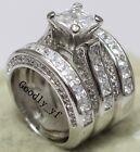 Princess Cut 7mm Topaz 14K White Gold Filled Women Wedding Band Ring 3 in 1 Set