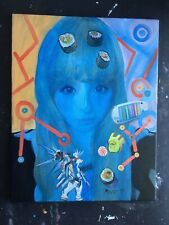 "16x20 inch Oil Painting ""Kyary Japan"" Surreal Collage wired canvas, 2014"