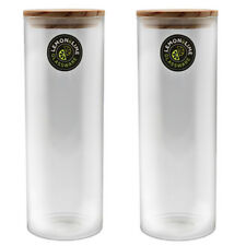 1800ML Food Storage Jar 1.8L Glass Jars Canister Container Wooden Lid Tube Tubes